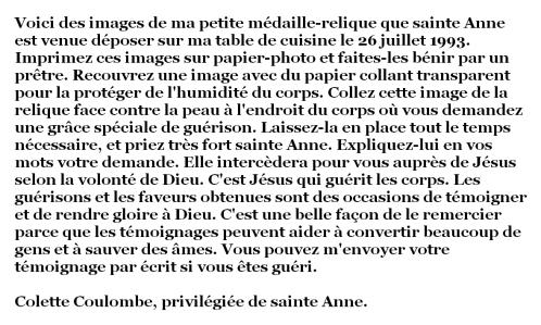 Texte petites images-relique de sainte Anne